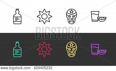 Set Line Tequila Bottle, Sun, Mexican Wrestler And Glass With Lemon On Black And White. Vector