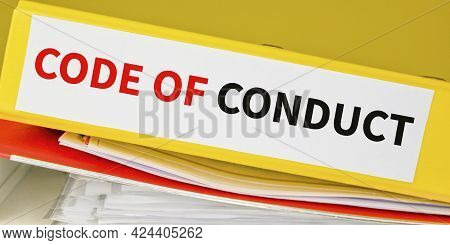 Code Of Conduct Text On A Binder, Law And Business Concept