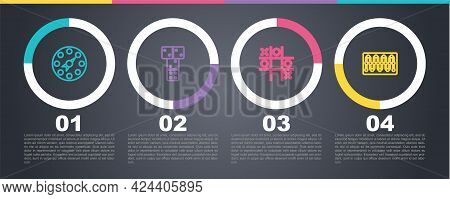 Set Line Twister Game, Domino, Tic Tac Toe And Board. Business Infographic Template. Vector