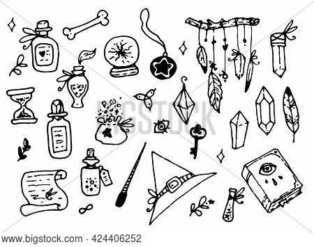 Doodle Witch Magic In Cartoon Style .vector Set Of Witch Magic. Isolated Magic Craft Items, Hat, Cry