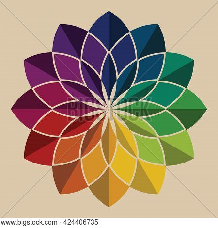Colorful Flower Pattern Mandala Shape. Retro Style Rainbow Color. Gradient Color Theory. Design Elem