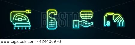 Set Line Electric Iron, Please Do Not Disturb, Digital Door Lock And Shower Head. Glowing Neon Icon.