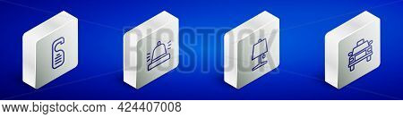 Set Isometric Line Please Do Not Disturb, Hotel Service Bell, Table Lamp And Taxi Car Icon. Vector