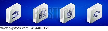 Set Isometric Line Courthouse Building, Briefcase, Police Badge And Scales Of Justice Icon. Vector