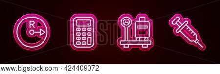 Set Line Radius, Calculator, Scale With Suitcase And Syringe. Glowing Neon Icon. Vector