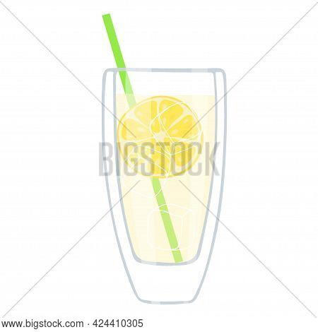 Lemonade. Clear Glass With Drink, Straw For Drinking, Ice Cubes, Pieces Of Lemon. Glass Isolated On