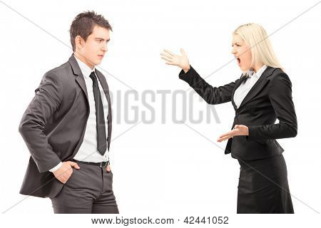 Professional male and female having an argument isolated on white background