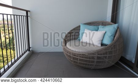 Outdoor Beach Chair On The Hotel Room Balcony Or Terrace