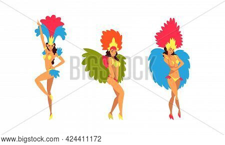 Bright Brazilian Female Samba Dancer Posing In Feathered Costume Vector Set