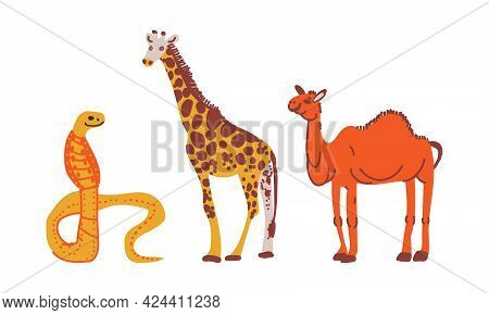 Spotted Giraffe And Cobra As African Animal Vector Set