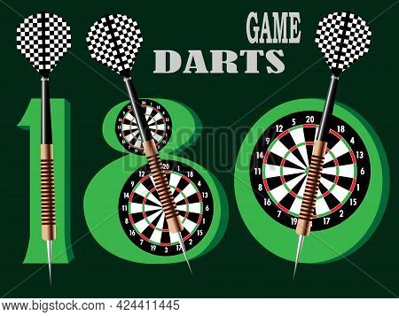 Vector Illustration With The Image Of 180 Points In The Game Of Darts In The Form Of A Banner For Pr