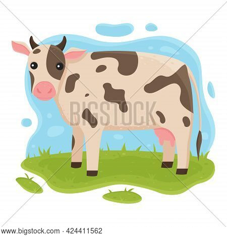 The Cow Is Standing In The Meadow. The Cow Grazes On The Grass. Vector Illustration Of Farm Domestic