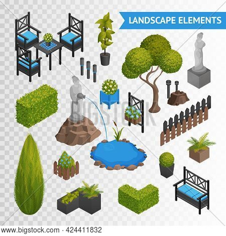Various Garden Park Landscape Isometric Elements Set With Plants Flowers Furniture And Statues Isola