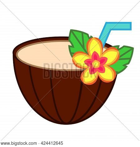 Coconut Cocktail With Tropic Flower And Drinking Straw. Vector