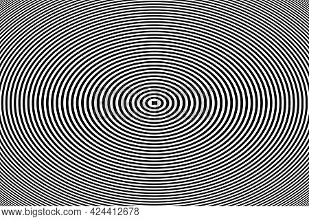 Abstract Concentric Oval Lines Pattern. Vector Art.