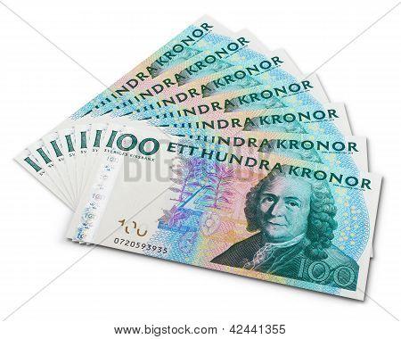 Stack of 100 Swedish krona banknotes