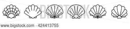 Sea Shell Icon. Set Of Linear Pearl Shell Icons. Vector Illustration. Shell Vector Icons. Black Line
