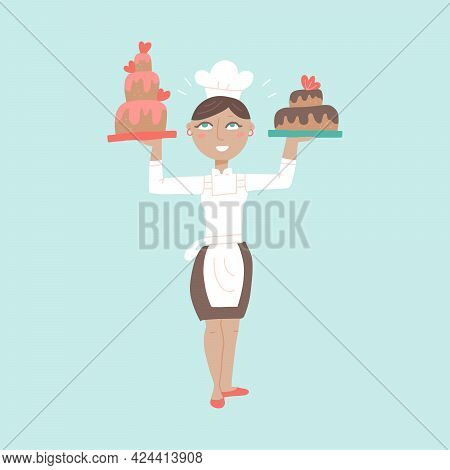 Woman Professional Chef Character With Delicious Cake Desserts. Female Baker Wearing Traditional Uni