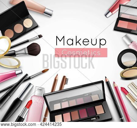 Makeup Cosmetics Beauty Bag Accessories Realistic Composition Poster With Lipstick Lip Gloss And Eye