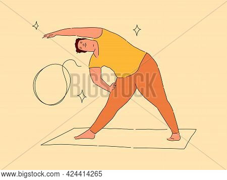 Plus Size Woman Doing Exercise On Yoga Mat. Modern Flat And Outline Vector Illustration Isolated On