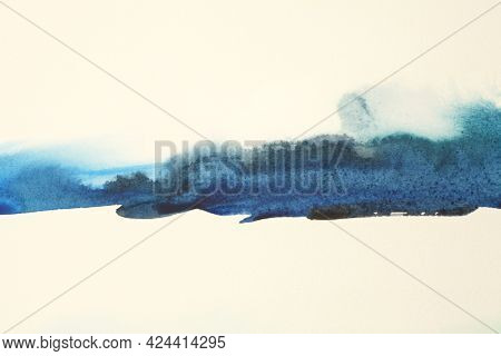 Abstract watercolor and acrylic flow smear blot painting. Blue Color canvas texture horizontal background.