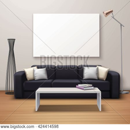 Modern Interior Design Realistic Mockup Poster With Sofa Coffee Table Whiteboard And Decorative Floo