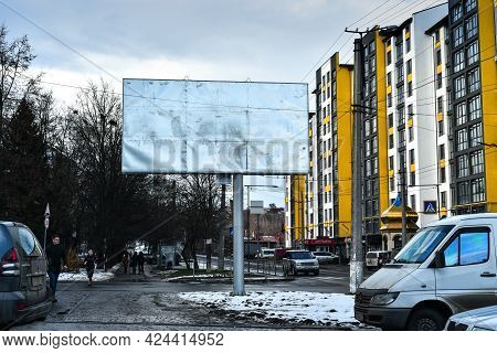 Billboard Mockup Outdoors, Outdoor Advertising Poster On The Street For Advertisement Street City. I