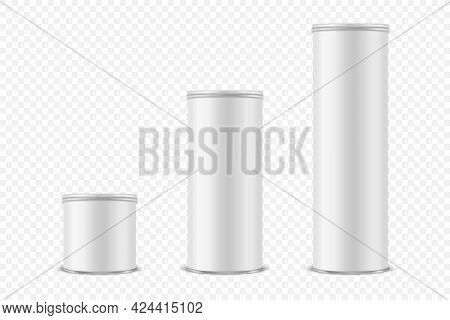 Vector 3d Realistic Blank White Metal Tin Can, Canned Food, Potato Chips Packaging With Lid Icon Set