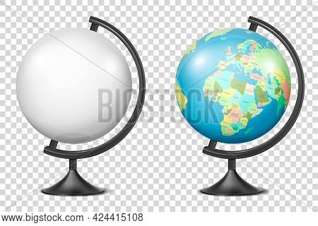 Vector Realistic 3d Globe Of Planet Earth With Map Of World And Blank Globe Icon Closeup Isolated. D