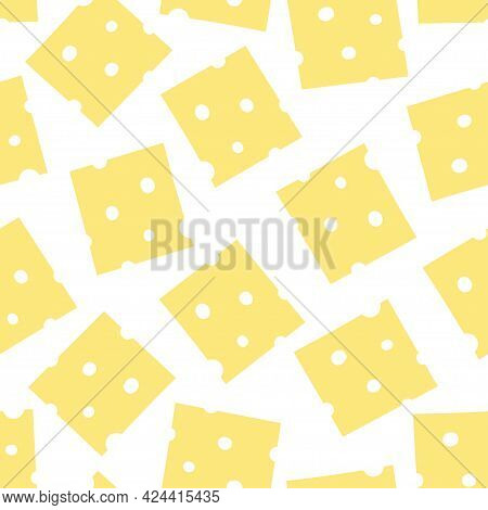 Cheese Seamless Pattern On White Background, Cheese Pieces For Design Illustration, Slices Of Cheese