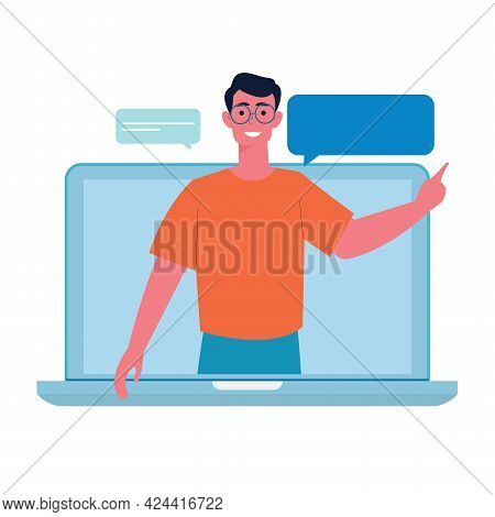 Education, Distance Education, Internet Studying, E-learning Flat Vector Illustration. Online Classe