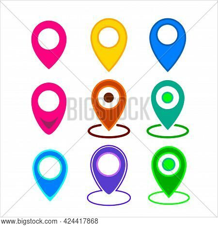 Set Colored Icons Of Simple Forms Of Point Of Location. Map Pin Icon, Filled Flat Sign Isolated On W