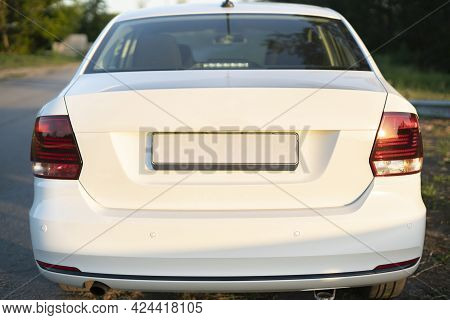 Empty Car Number Plate License, The Copy Space Or Mockup Design Template