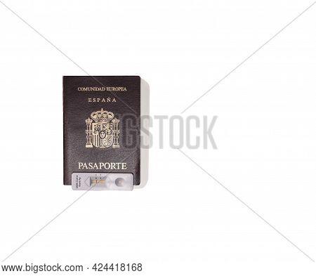 European Community Passport With A Negative Coronavirus Antigen Test For Travel Concept On White Bac
