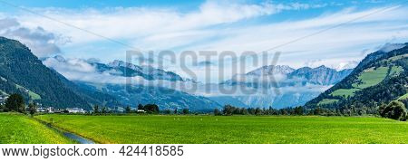 Broad Mountain Valley On Sunny Summer Day. Austrian Alps, Austria