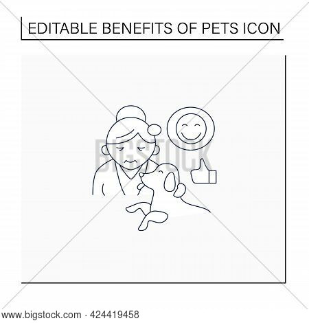 Pets Benefits Line Icon. Dog Provide Valuable Companionship For Older Adults. Healthy Aging. Animal