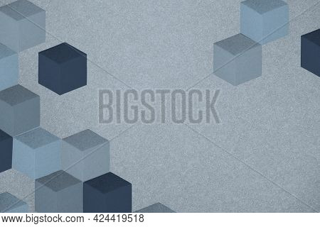 Blue paper craft cubic patterned background