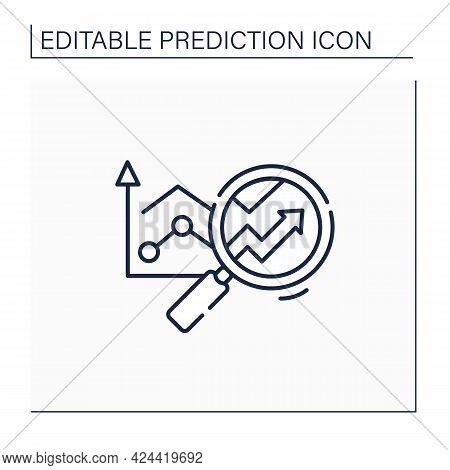 Predictive Analytics Line Icon. Future Forecasts Events. Statistics. Careful Research. Business Pred