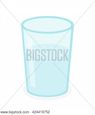 Glass Of Water, Drinking Water,  Blue Transparent Glass Filled With Water Icon Isolated Vector Illus