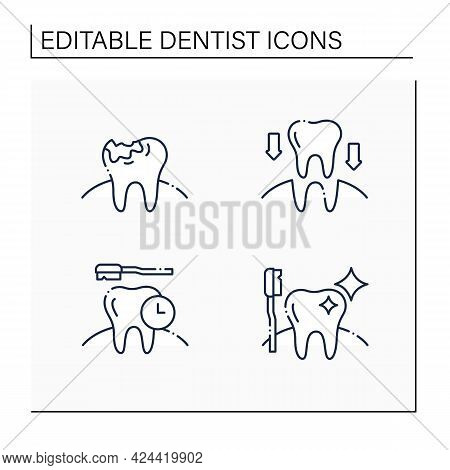 Dentist Line Icons Set. Tooth Transplants And Decay, Oral Hygiene. Healthcare Concept. Isolated Vect