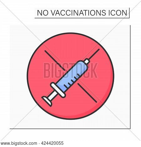 Syringe Color Icon. Vaccination Refusal. Stop Sharing Vaccine.no Vaccinations Concept. Isolated Vect