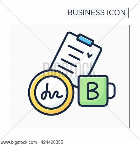 Agreement Color Icon. Checklist. Register Company, Documentation With Sign And Seal. Business Paper.