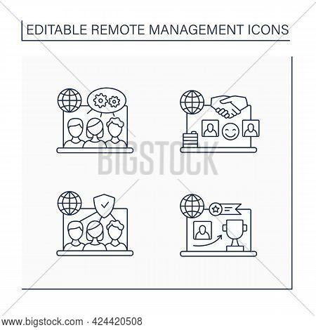 Remote Command Management Line Icons Set. Trust Team, Reward Achievement, Projects Collaborating, Po