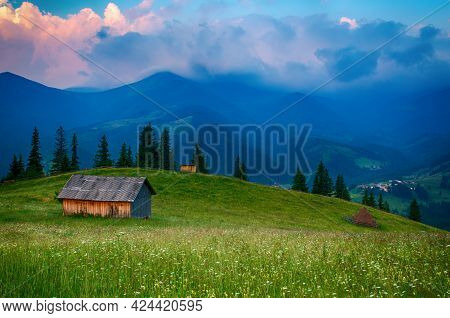 Carpathian Mountains Summer Landscape With Cloudy Sky And House, Natural Summer Travel Background.