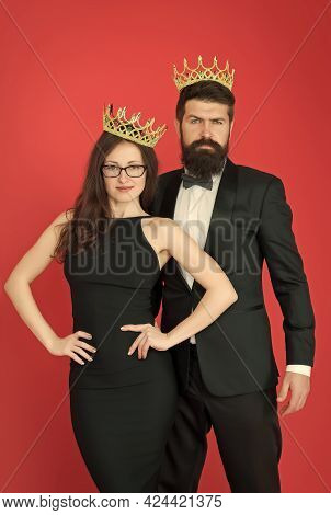 We Are Family. Royal Bond. Attractive Queen And Big Boss Enjoy Luxury. Business Couple Wear Luxury C
