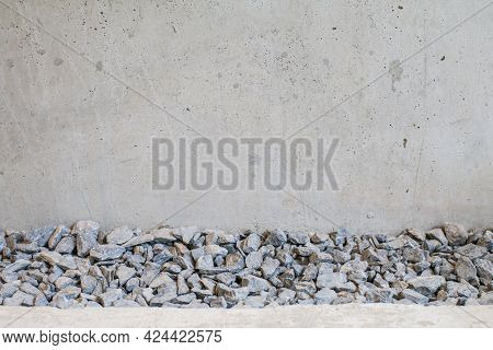 White Gravel And Concrete Slab In Half. Abstract Background. Part Of The Concrete Walkway And Gravel