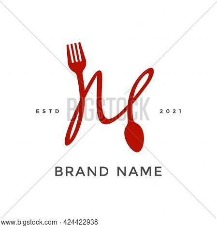 Simple, Modern And Unique Illustration Logo Design Initial M Combine With Fork And Spoon. Logo Recom