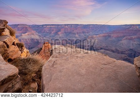 Flat Rock On The Edge Of South Kaibab Trail Looking Out Over The Grand Canyon