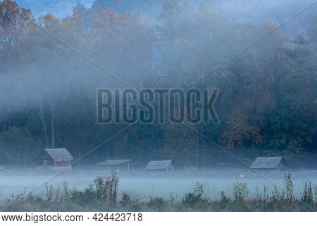 Fog Coveres Oconaluftee Settlement In Great Smoky Mountains National Park