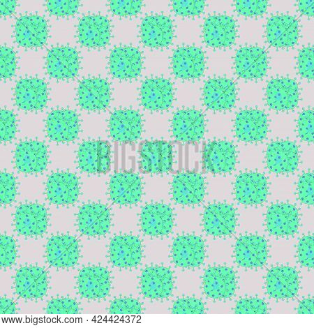 Microbe On Microbe, Seamless Pattern. For Backgrounds And Textures. Illustration.